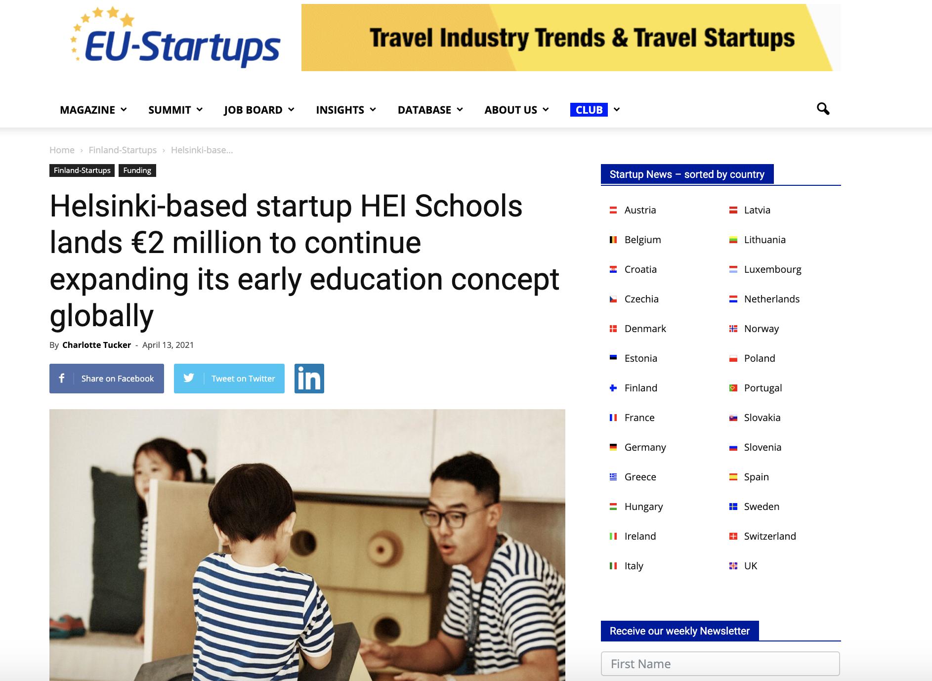 EU Startups Arricle April 2021