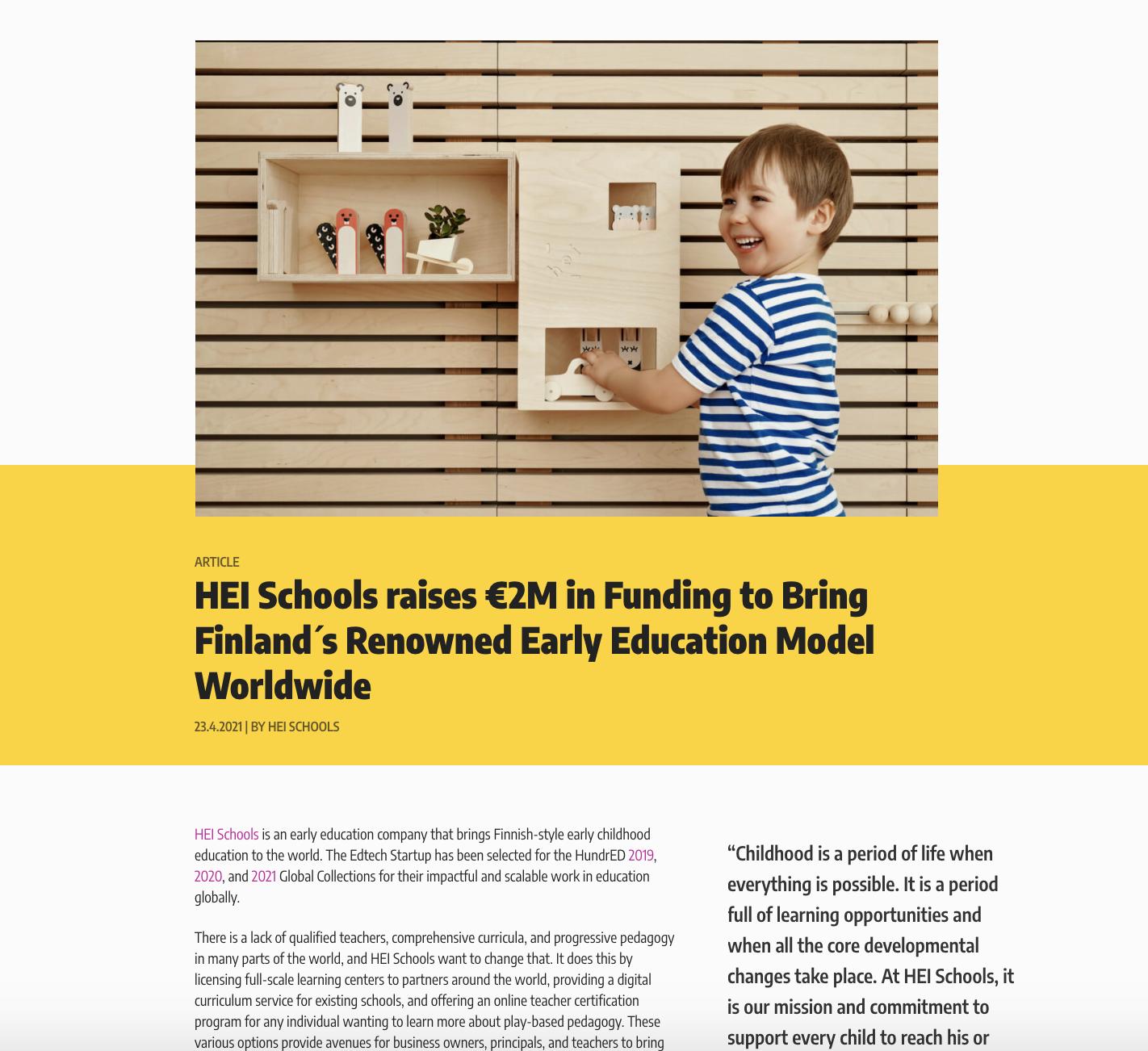 HundrED Article HEI Schools raises 2M in funding