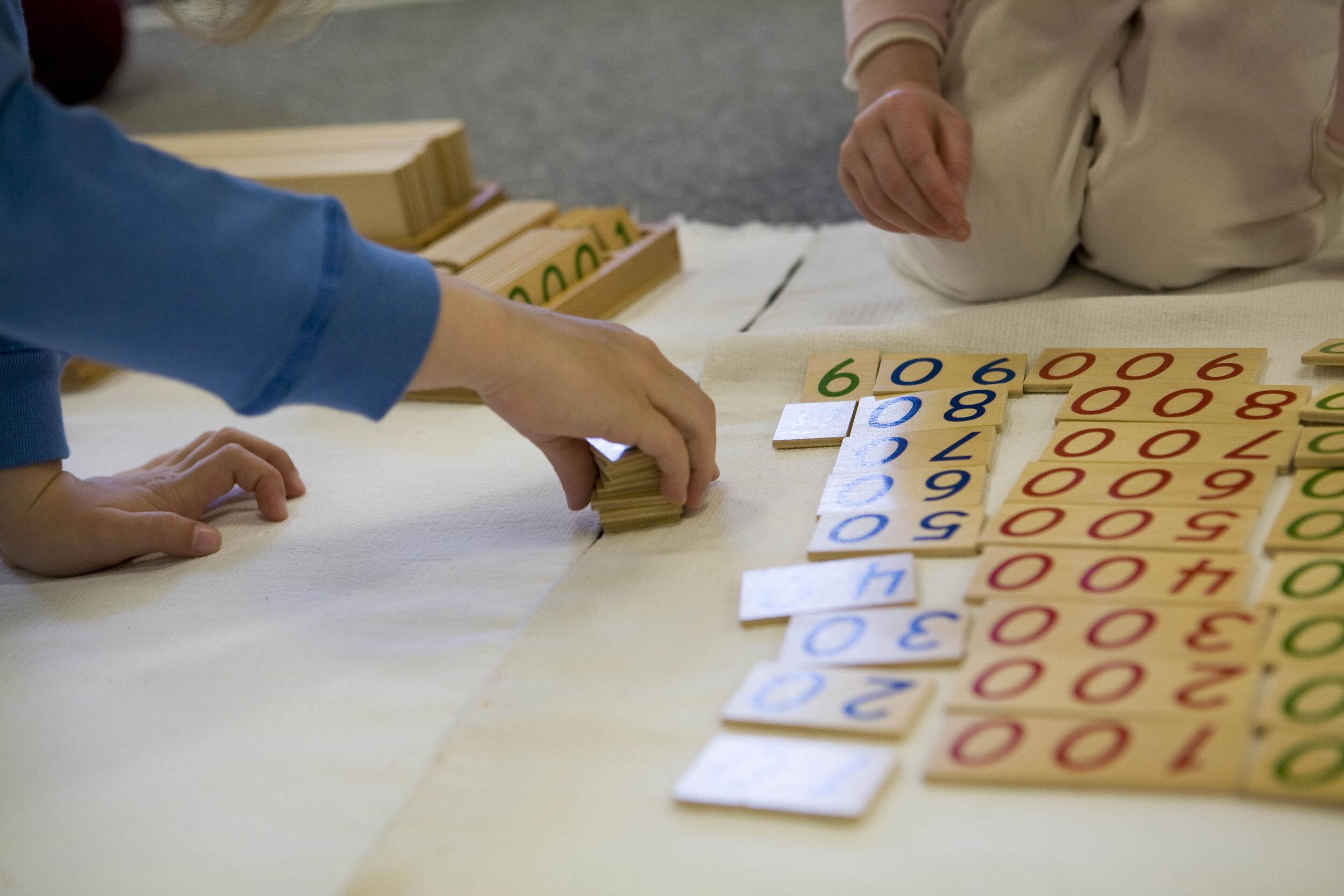 Montessori Counting materials   Source: Thacher Montessori School, WikiCommons